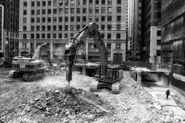 Wall Art - Photograph - Chicago Construction Equipment Demolition Bw by Thomas Woolworth