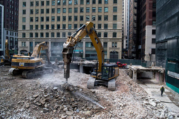 Wall Art - Photograph - Chicago Construction Equipment Demolition by Thomas Woolworth