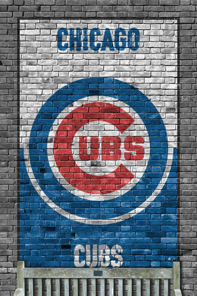 Grass Painting - Chicago Cubs Brick Wall by Joe Hamilton