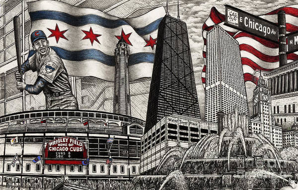 Illinois Drawing - Chicago Cubs, Ernie Banks, Wrigley Field by Omoro Rahim