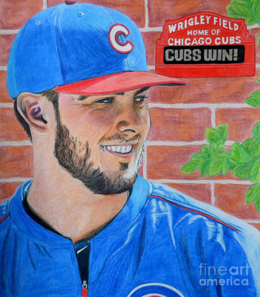 Drawing - Chicago Cubs Kris Bryant Portrait by Melissa Jacobsen