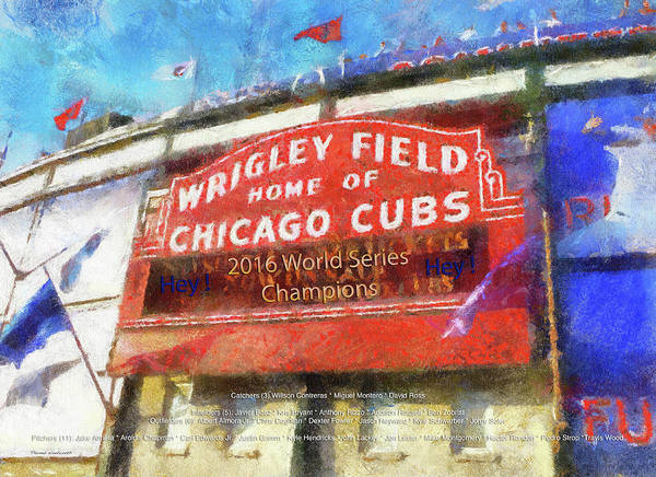 Wall Art - Photograph - Chicago Cubs World Series Marquee Photo Art by Thomas Woolworth