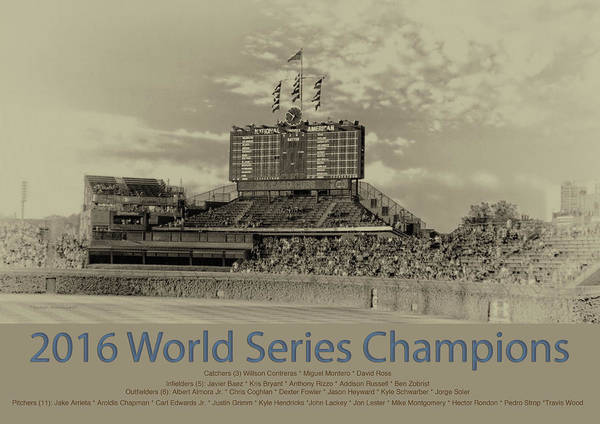 Wall Art - Photograph - Chicago Cubs World Series Scoreboard In Heirloom by Thomas Woolworth
