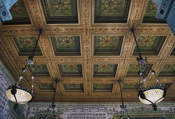 Wall Art - Photograph - Chicago Cultural Center Staircase Ceiling by Thomas Woolworth
