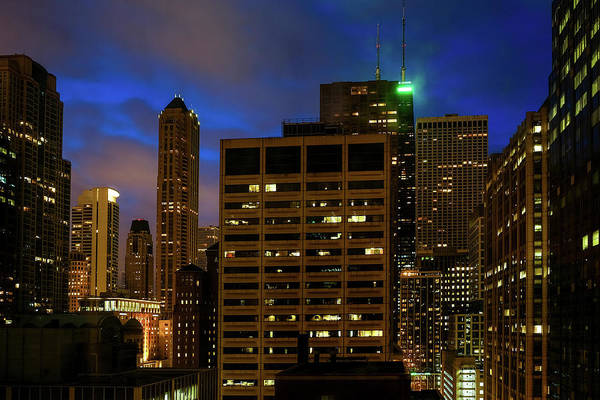 Photograph - Chicago Downtown Night View by John McArthur