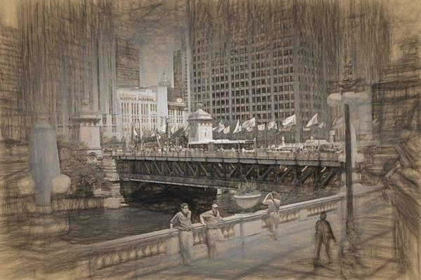 Chicago Dusable Bridge Street Scene Art Print