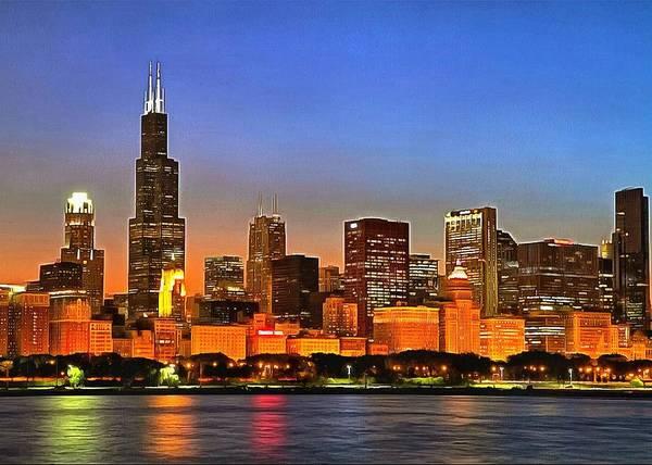 Digital Art - Chicago Dusk by Charmaine Zoe
