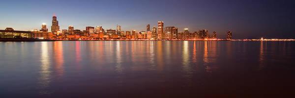 Photograph - Chicago Dusk Skyline Panoramic  by Sven Brogren