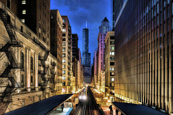 Painting - Chicago El Trump Tower Night by Christopher Arndt