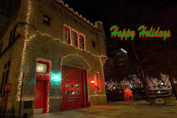 Photograph - Chicago Firehouse With Xmas Lights Xmas Card by Sven Brogren