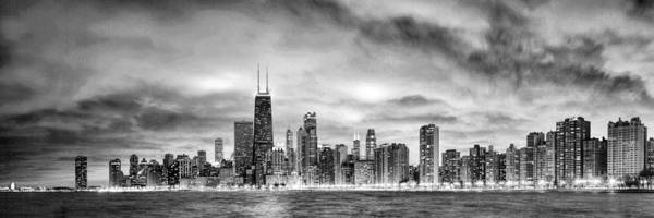 Chicago Black White Wall Art - Painting - Chicago Gotham City Skyline Black And White Panorama by Christopher Arndt