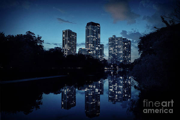 Dramatic Wall Art - Photograph - Chicago High-rise Buildings By The Lincoln Park Pond At Night by Bruno Passigatti