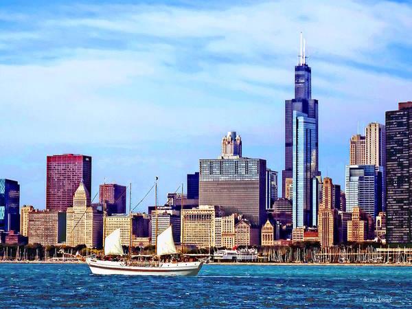 Photograph - Chicago Il - Schooner Against Chicago Skyline by Susan Savad