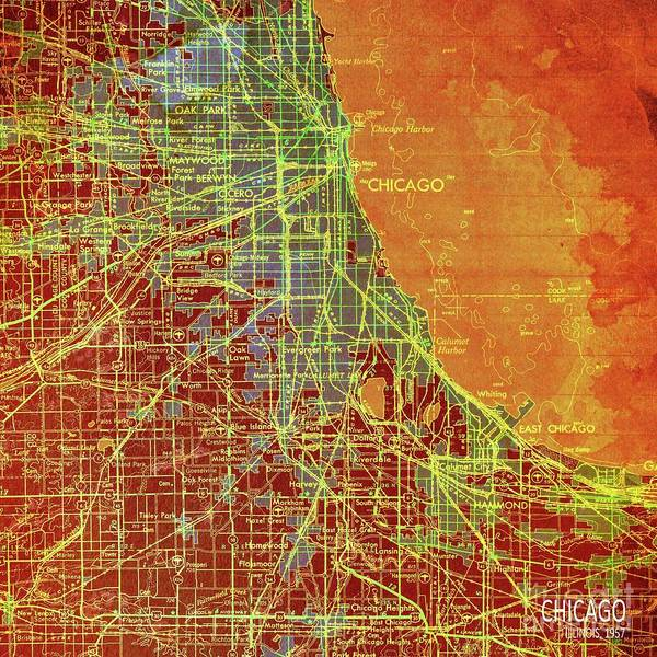 Wall Art - Digital Art - Chicago Illinois Colorful Old Map, Year 1947 by Drawspots Illustrations