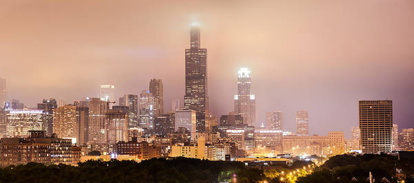 Photograph - Chicago Illinois Panorama Skyline At Night by Gregory Ballos