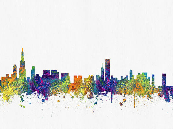 Chicago Skyline Digital Art - Chicago Illinois Skyline Color03 by Aged Pixel