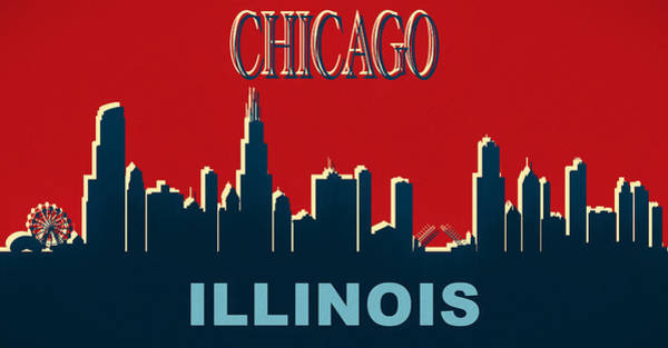 Wall Art - Mixed Media - Chicago Illinois Skyline by Dan Sproul