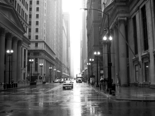 Photograph - Chicago In The Rain B-w by Anita Burgermeister