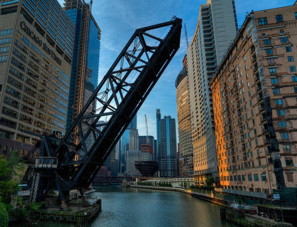 Photograph - Chicago Kinzie St. Rail Bridge  by Nisah Cheatham