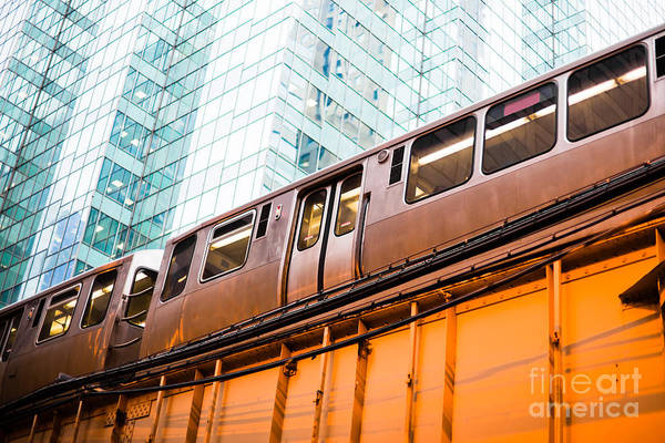 Train Photograph - Chicago L Elevated Train  by Paul Velgos
