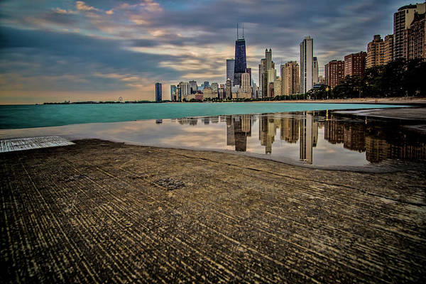 Photograph - Chicago Lakefront Scene With Watery Reflection by Sven Brogren