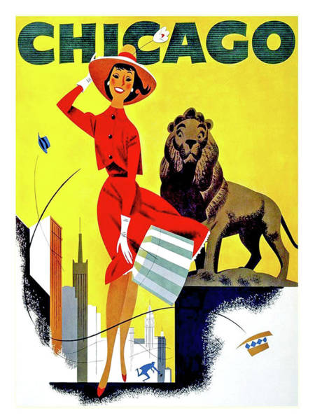 Vintage Chicago Painting - Chicago, Lion, Shopping Woman by Long Shot