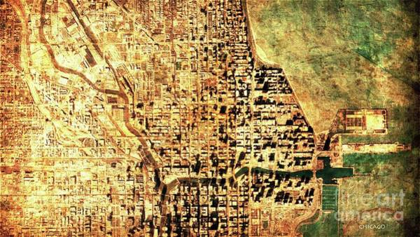Wall Art - Digital Art - Chicago Map by Drawspots Illustrations