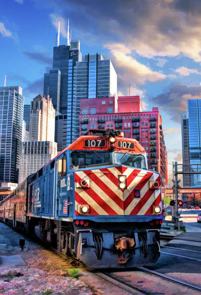 Painting - Chicago Metra Train Downtown by Christopher Arndt