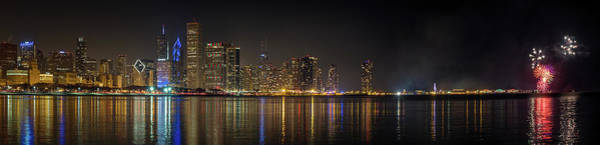 Photograph - Chicago New Year Fireworks by Brad Boland