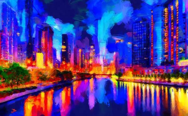 Digital Art - Chicago Night by Caito Junqueira