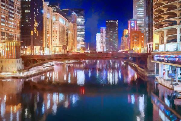 Chicago River Digital Art - Chicago Night I by Ronald Bolokofsky