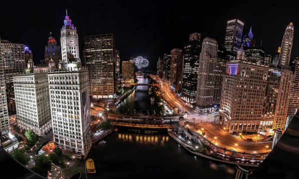 Photograph - Chicago Night Live - Pano by Ryan Smith