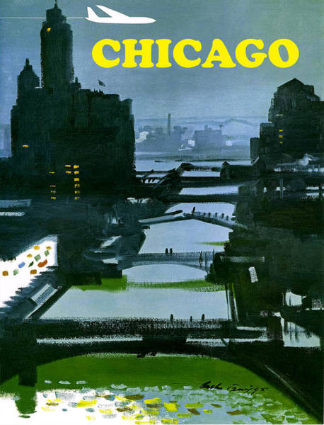 Vintage Chicago Painting - Chicago Night by Long Shot