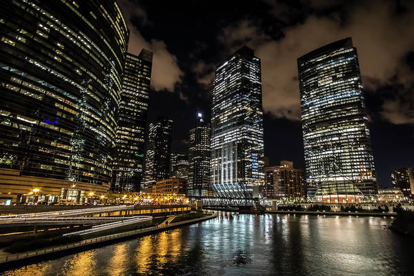 Photograph - Chicago River And Night Skyline by Sven Brogren