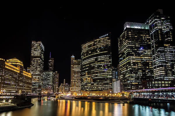 Photograph - Chicago Night Skyline From Wolf Point by Sven Brogren