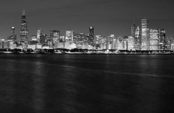 Chicago Skyline Photograph - Chicago Night Skyline In Black And White by Twenty Two North Photography