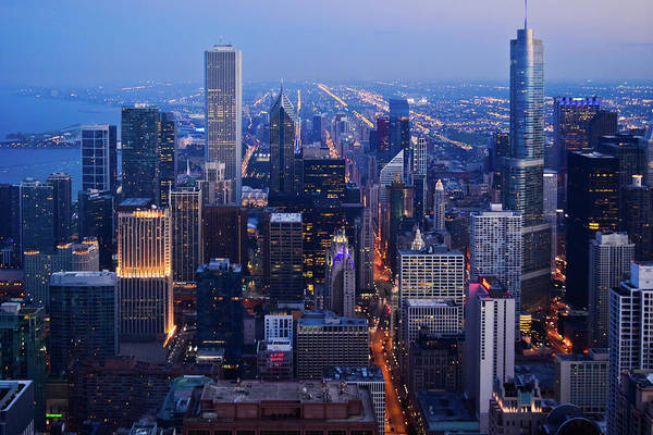 Photograph - Chicago Night Skyline by Kyle Hanson