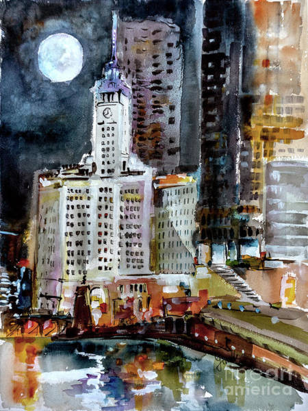 Painting - Chicago Night Wrigley Building Art by Ginette Callaway