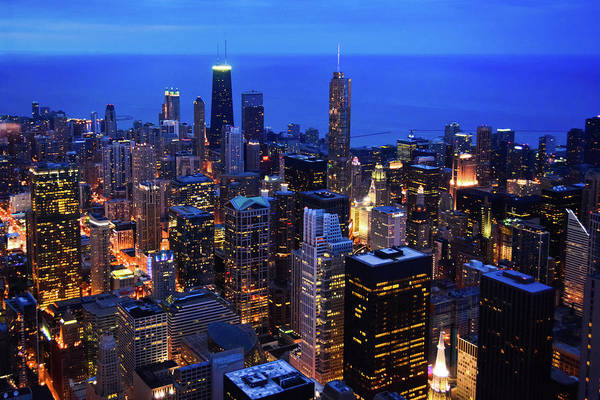 Photograph - Chicago Nighttime Skyline by Kyle Hanson