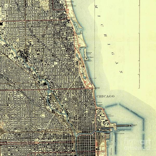 Illinois Drawing - Chicago Old Map, Gift For Men by Drawspots Illustrations