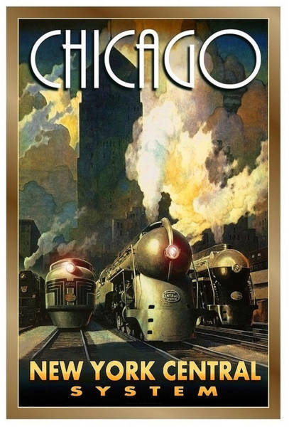 Vintage Train Painting - Chicago Railway, Steam Trains by Long Shot