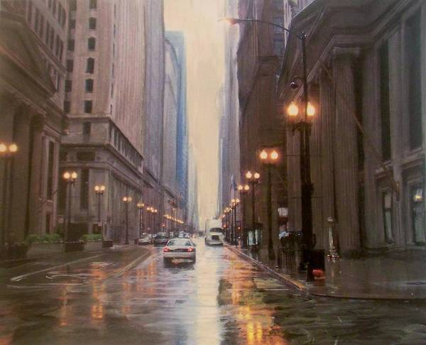 Painting - Chicago Rainy Street by Anita Burgermeister