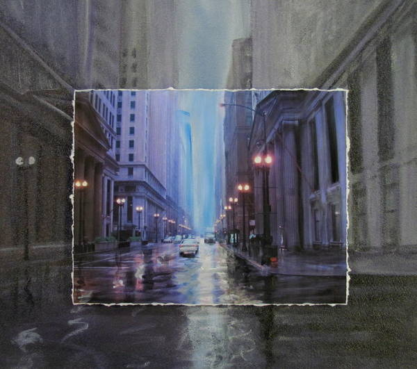 Mixed Media - Chicago Rainy Street Expanded by Anita Burgermeister