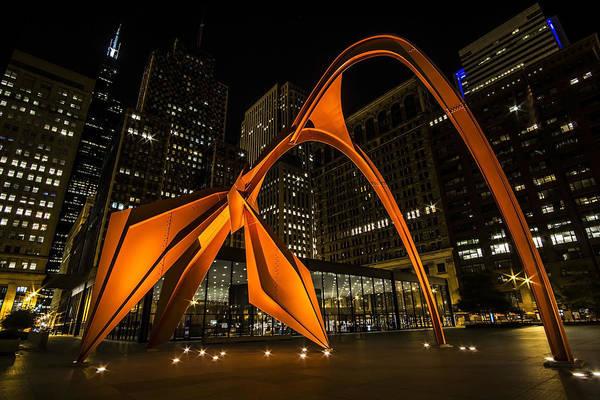 Photograph - Chicago Red Steel Flamingo  by Sven Brogren