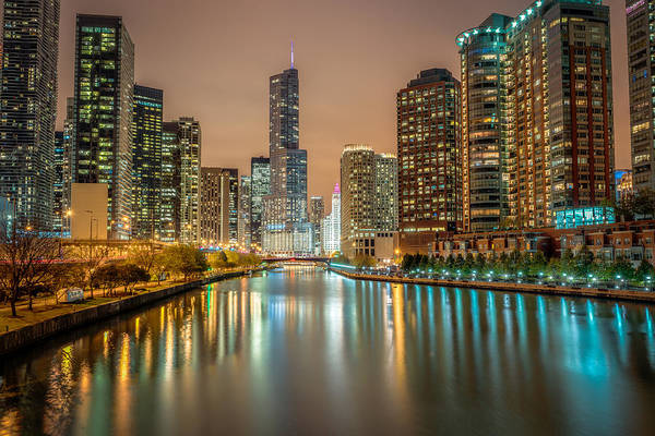 Photograph - Chicago River At Night by James Udall