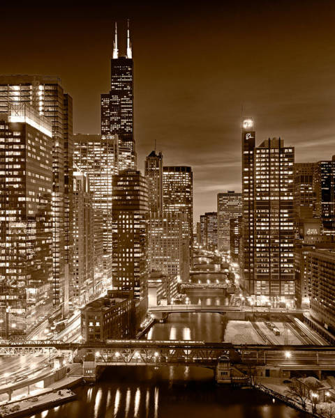 Wall Art - Photograph - Chicago River City View B And W 16x20 by Steve Gadomski