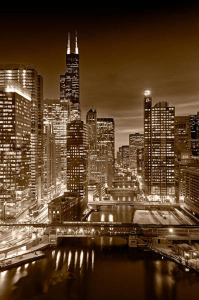 Wall Art - Photograph - Chicago River City View B And W by Steve gadomski