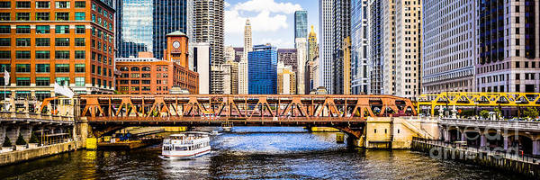 Wall Art - Photograph - Chicago River Downtown Panorama Picture by Paul Velgos