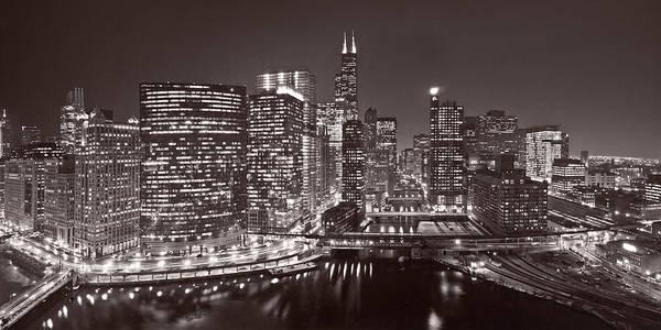 Chicago River Photograph - Chicago River Panorama B W by Steve Gadomski