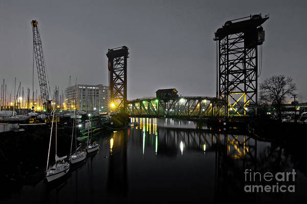 Turn Of The Century Wall Art - Photograph - Chicago River Scene At Night by Bruno Passigatti